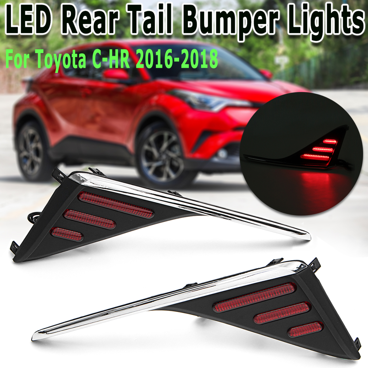 2Pcs LED Rear Fog Lights Turn Signal Lamps Tail Trunk Bumper Lights Brake Stop Light Sets Fit for Toyota C-HR CHR 16-18 цена