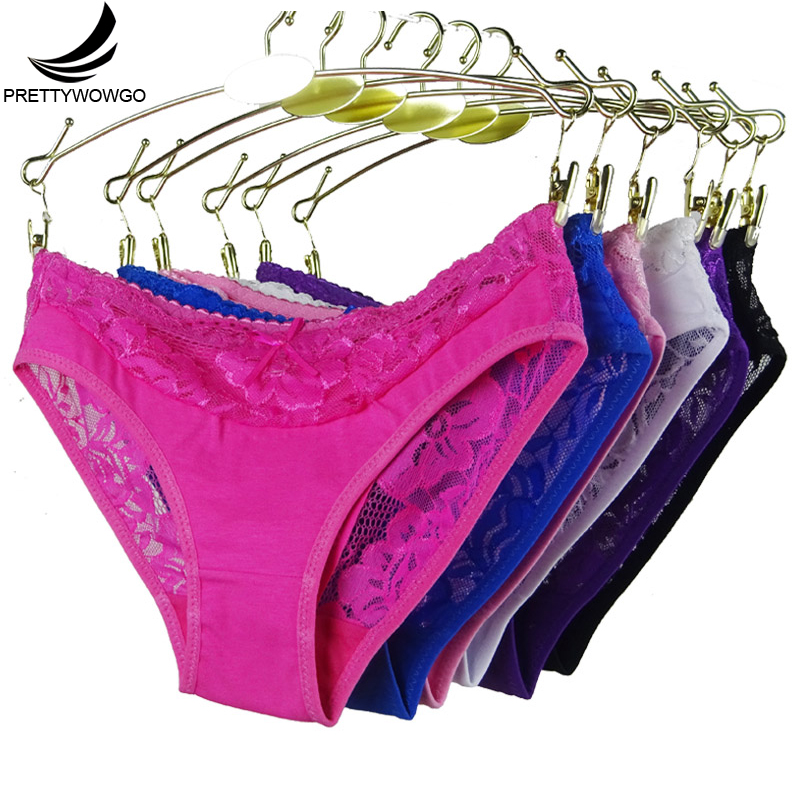 Prettywowgo New Arrival Women Underwear 2019 Sexy Lace 6 Candy Color Women's Cotton   Panties   887