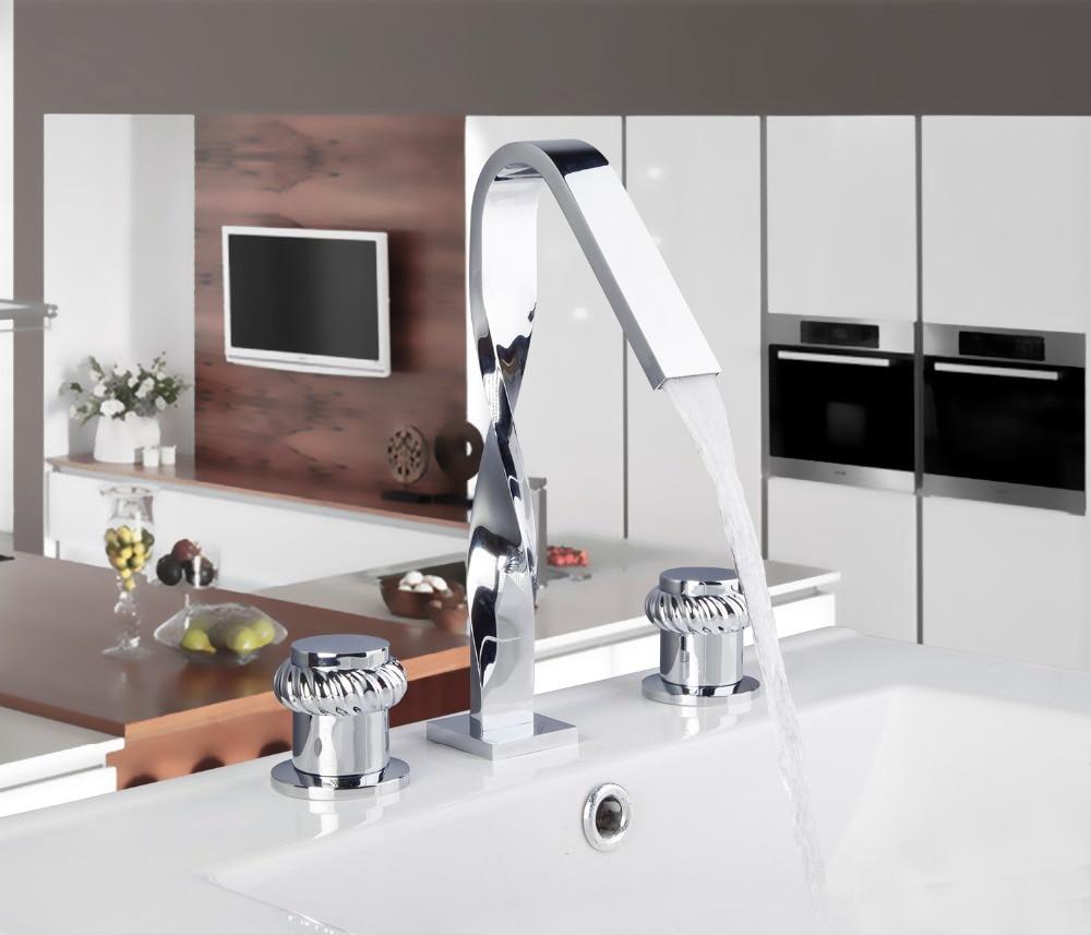 54F Modern Chrome Waterfall Widespread <font><b>Roman</b></font> Bath <font><b>Tub</b></font> Filler Tap Bath Faucet