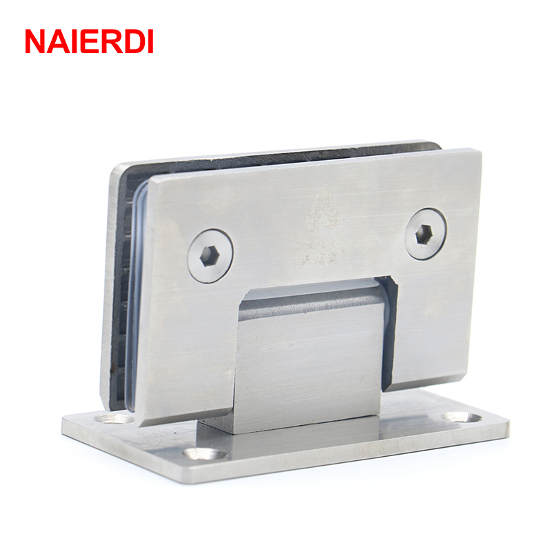 NAIERDI-4913 90 Degree Open 304 Stainless Steel Hinges Wall Mount Glass Shower Door Hinge For Home Bathroom Furniture Hardware 2pcs 90 degree bronze stainless steel hinges frameless wall to glass bathroom shower door hinge wall mount 8 10mm hinge jf1773