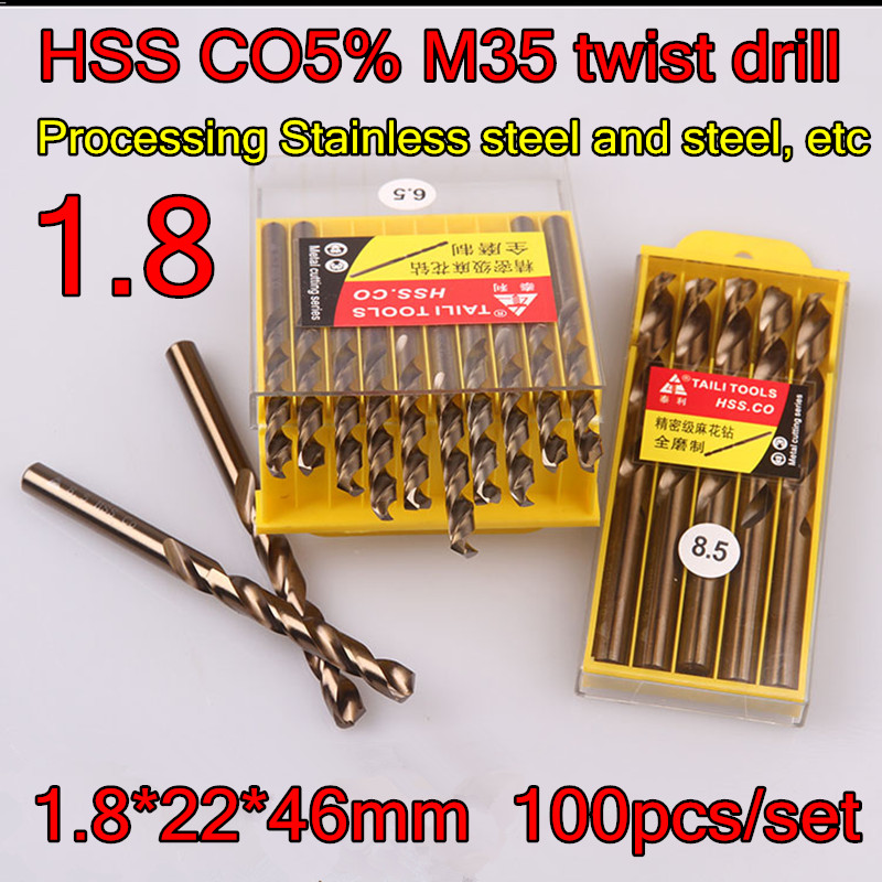 1 8 22 46mm 100pcs set HSS CO5 M35 Containing cobalt twist drill Processing Stainless steel