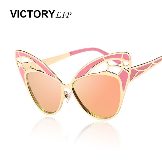 f49992fa9e27 VictoryLip Oversized Butterfly Wing Shapes 50S Vintage Party Fashion Cat  Eye Sunglasses Women Mirror Sun Glasses Female UV400
