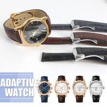 Watchband Genuine Leather Strap for Omega for Deville Business Watchstrap Seamaster 19mm 20mm 21mm Black Blue Brown Fold Buckle цена 2017