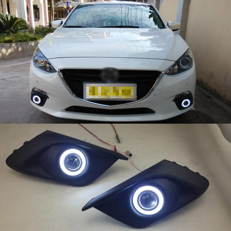 Ownsun COB Angel Eye Rings Projector Lens with 3000K Halogen Lamp Source Black Fog Lights Bumper Cover For Mazda 3 Axela 2014 ownsun innovative super cob fog light angel eye bumper cover for skoda fabia scout