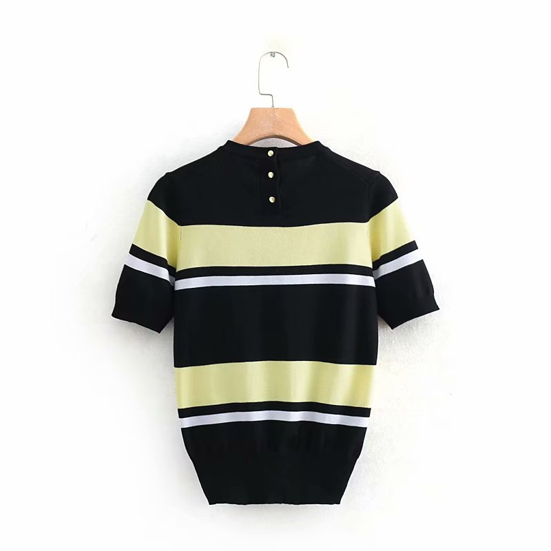 Spring Female Pillovers Sweater Stripe O-Neck Coat Short Casual Women Half Knitted Thin Jacket Female Outerwear Sweater Tops