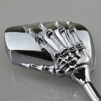Free Shipping Universal Mirror Motorcycle Chrome Ghost Skeleton Hand Scooter Rearview Side Mirror for Most of Motorcycle Custom Мотоцикл