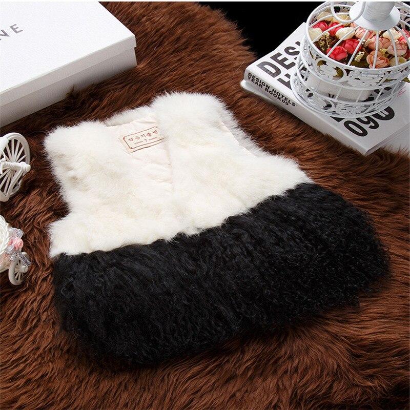 Fashion 2016 Rabbit Beach Wool Fur Splice vest Vest for Children Boy and Girl Autumn and Winter Real Fur Short Thick Solid Vest fashion rabbit and grass pattern 10cm width wacky tie for men