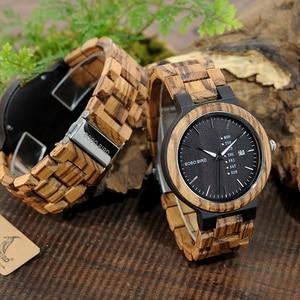 Image 5 - BOBO BIRD WO26 Zebra Wood Watch for Men with Week Display Date Quartz Watches Classic Two tone Wooden Drop Shipping