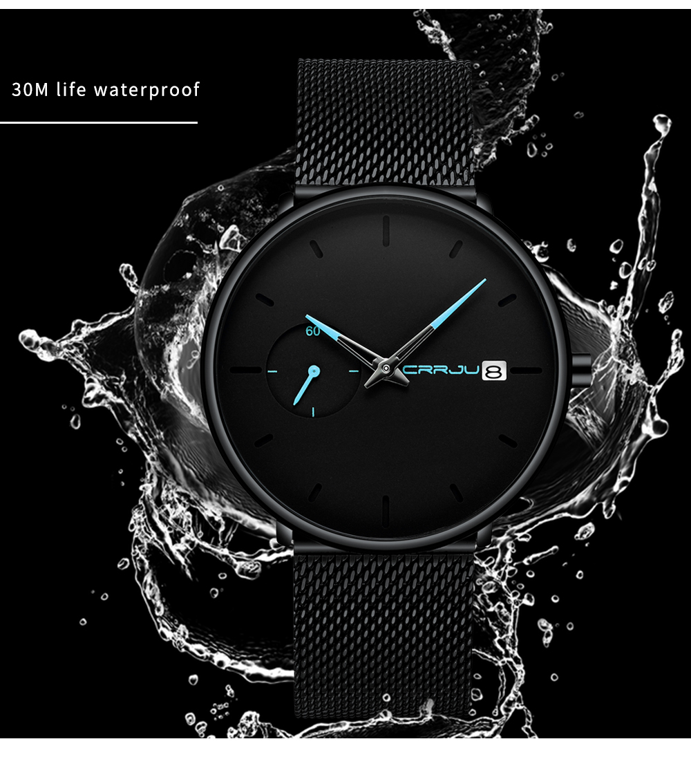 Crrju Sports Date Mens Watches Top Brand Luxury Waterproof Sport Watch Men Ultra Thin Dial Quartz Watch Casual Relogio Masculino 16