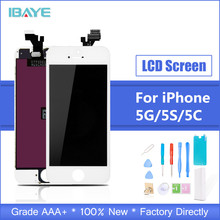 LCD For iPhone 5s lcd Display Touch for iphone5s Screen Digitizer Assembly Pantalla Ecran Replacement + Tempered Glass Tools