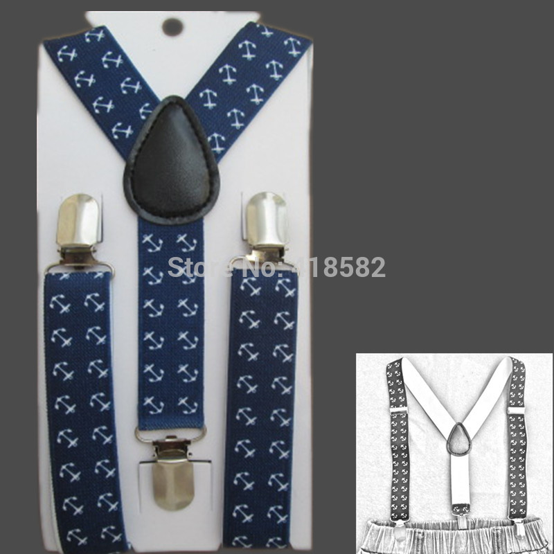 BD060-S Hot sale kids susepdners anchor print navy blue braces for baby 2.5*65cm 3 clips-on Children Accessories free ship