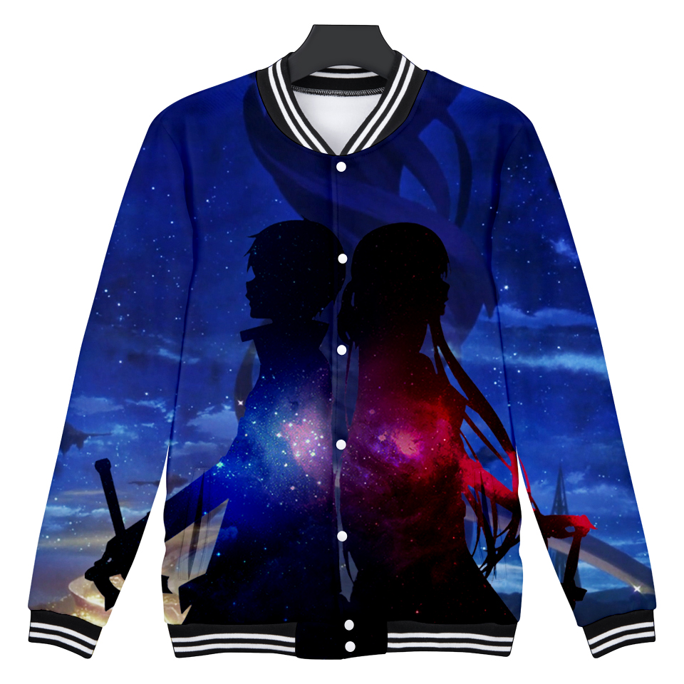 2018 3D Anime Print Funny Baseball Jacket Sword Art Online Jacket Mens Winter Fleece Coats Japanese Cartoon Pattern Jackets