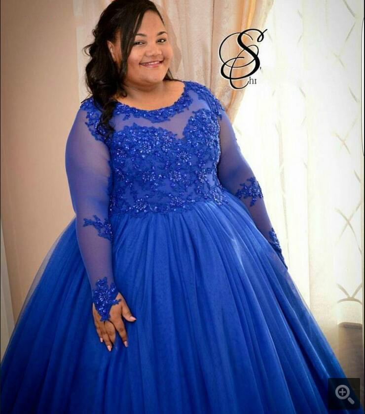 e205fe5897ff1 Custom made Plus Size Royal Blue Puffy ball gown prom dress Long Sleeves  beaded appliques African sexy women prom gowns-in Prom Dresses from  Weddings ...