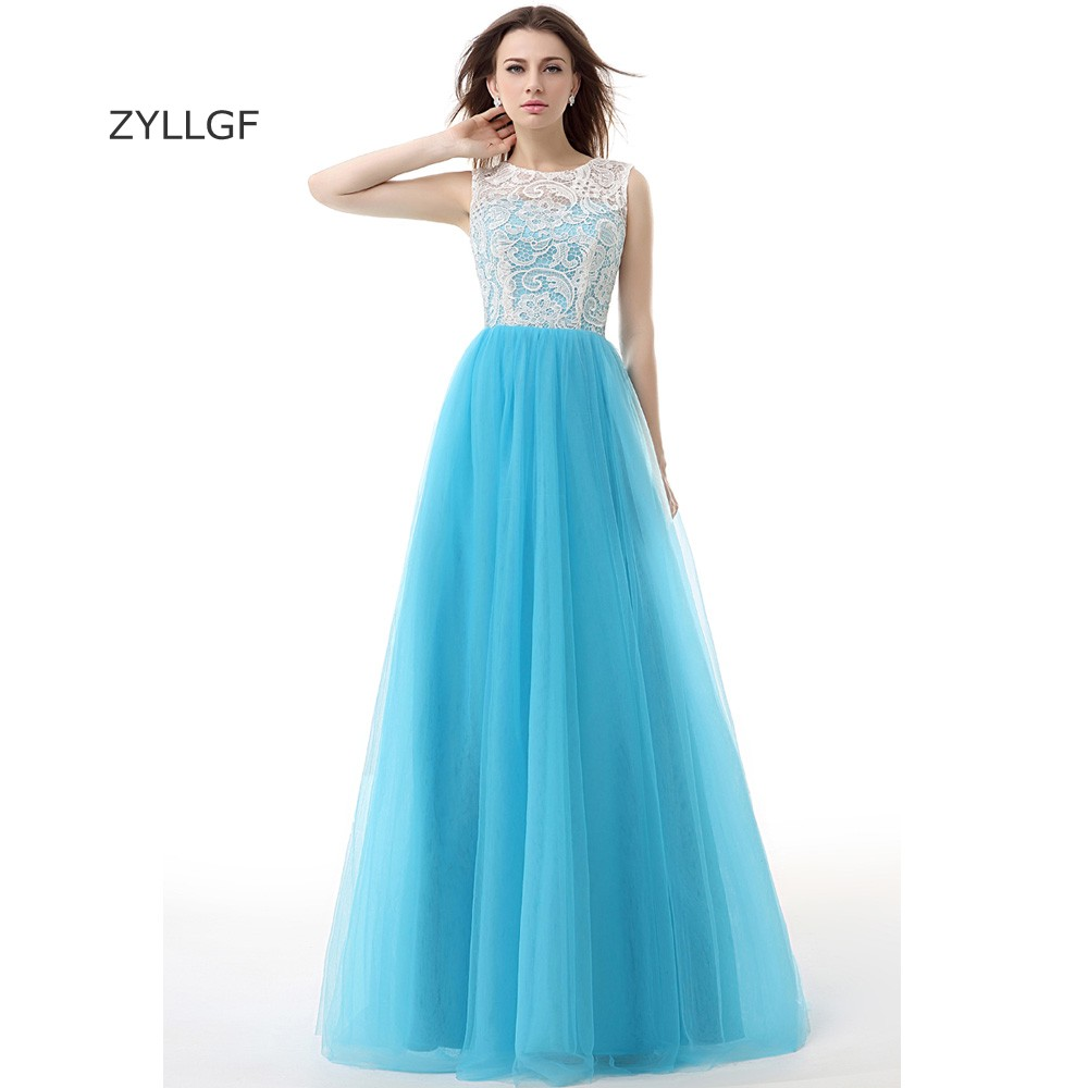 1c664323aebe50 ZYLLGF Designer Evening Gowns Patterns A Line Sleeveless Long Tulle  Beautiful Evening Dress Cheap Gown With Top Lace ZL104