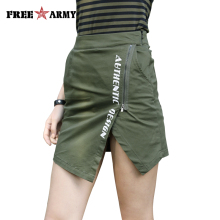 Fashion Sexy Summer Skirts Zipper Skirt For Women Military Army Green Short Skirt Female Cotton Short Skirt With Pocket Ladies