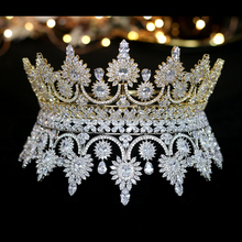 Corona retro europea de lujo para novia, accesorios de joyería para vestido de boda, banquete, A00345
