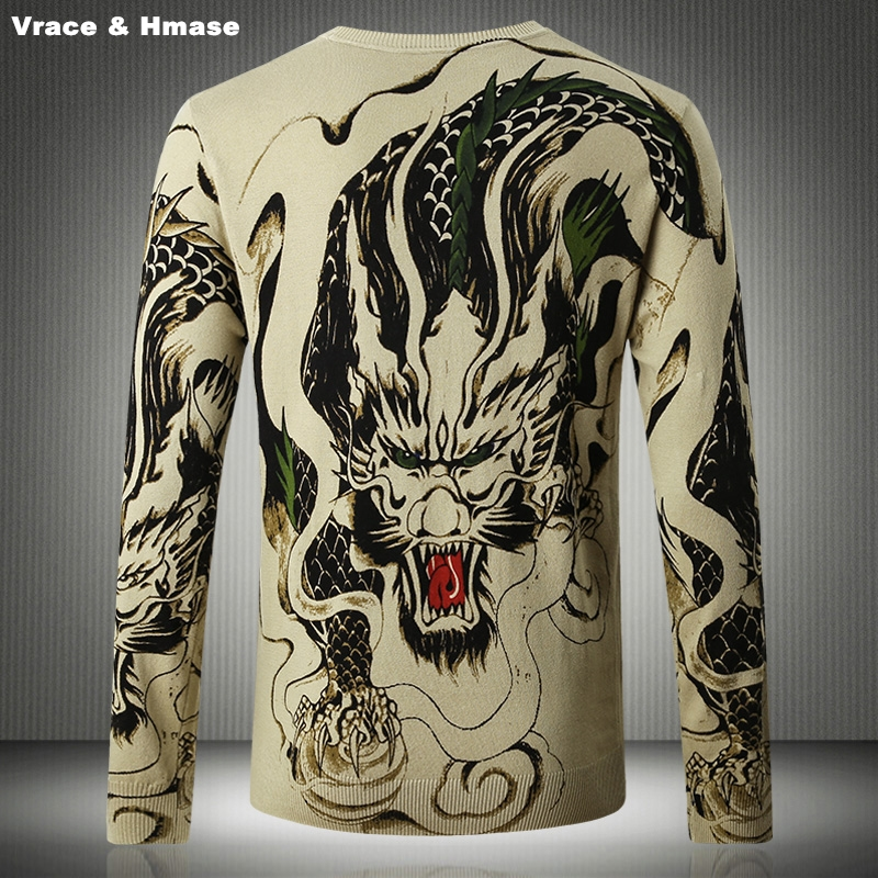Chinese Style Exquisite Dragon Pattern Printing Fashion Flower Arm Sweater Autumn&Winter 2020 New High-quality Sweater Men M-3XL