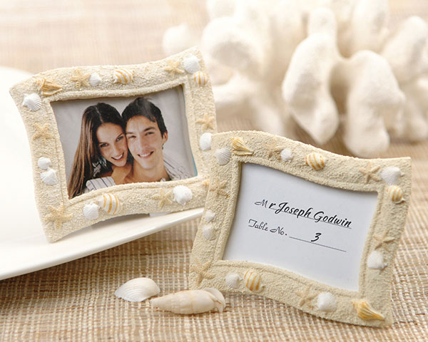 Beach Themed Colorful Seashells Place Card Holderphoto Frame