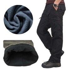 Зима двойной Слои Мужские брюки карго теплый толстый мешковатые Брюки хлопковые брюки для Для мужчин мужской Военное дело камуфляж тактический