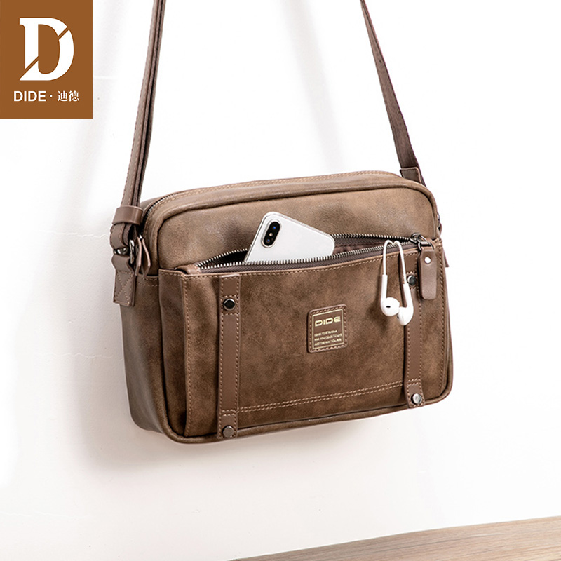 DIDE 2018 New men's messenger shoulder bags business Vintage cross body bag Male Brand Fashion travel 9.7 inch Ipad Bag leisure mens brand totes bags 2017 new selling fashion man leather messenger bag male cross body shoulder business bags for