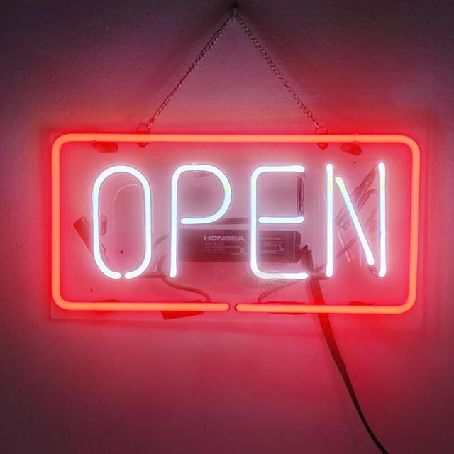 Custom Open Red Glass Neon Light Sign