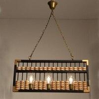 Ретро Промышленность счеты подвесные светильники творческий бисера Бар выставочный зал чайная комната Ретро ювелирные изделия черный жел
