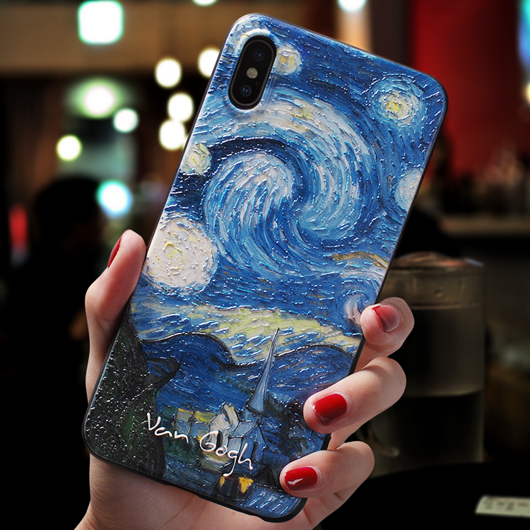 Vintage starry night oil painting Relief case For Iphone XS MAX XR 11 PRO MAX cover FOR Iphone XS X case