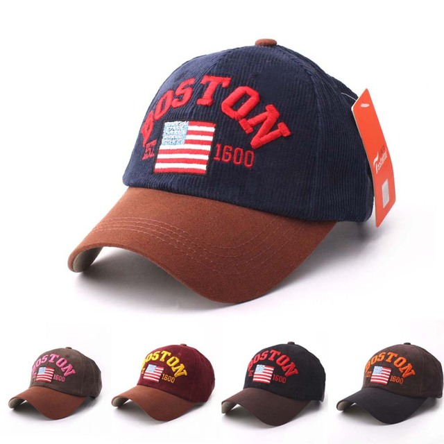 c767c04d69e New Arrival Flag Baseball Caps BOSTON Fashion Embroidery Hat Curved Brim  Sport Ball Hat High Quality Snapback Hat Cotton Caps
