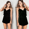 XINGUANGYA 2017 Summer Womens Sexy Velvet overalls Spaghetti Strap Sleeveless Bodycon Party Clubwear Short Jumpsuit Romper