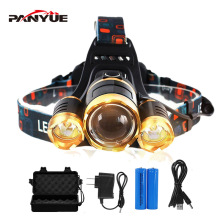 цены PANYUE USB Rechargeable Headlamp 3*LED XML T6 Headlight 3000 Lumens LED Headlamp Zoomable Head Flashlight Torch 4-Modes