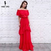 Missord 2017 Sexy Slash Neck Off The Shoulder Ruffles Fold Maxi Dress FT8330