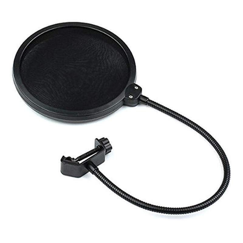 Studio Microphone Double Layer Mic Wind Screen Pop Filter Swivel Mount Mask Shied For Speaking Recording Gooseneck Black