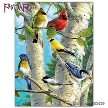 5D diamond painting vogels Full circle drill shiny daimant birds diamont tree bird stickers square new arrival