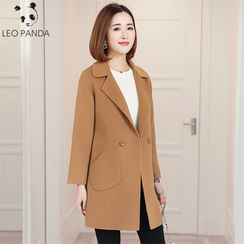2019 New Double Sided 100 Wool Coats Female Long Plus Size Casual Fashion Jacket Lady Slim