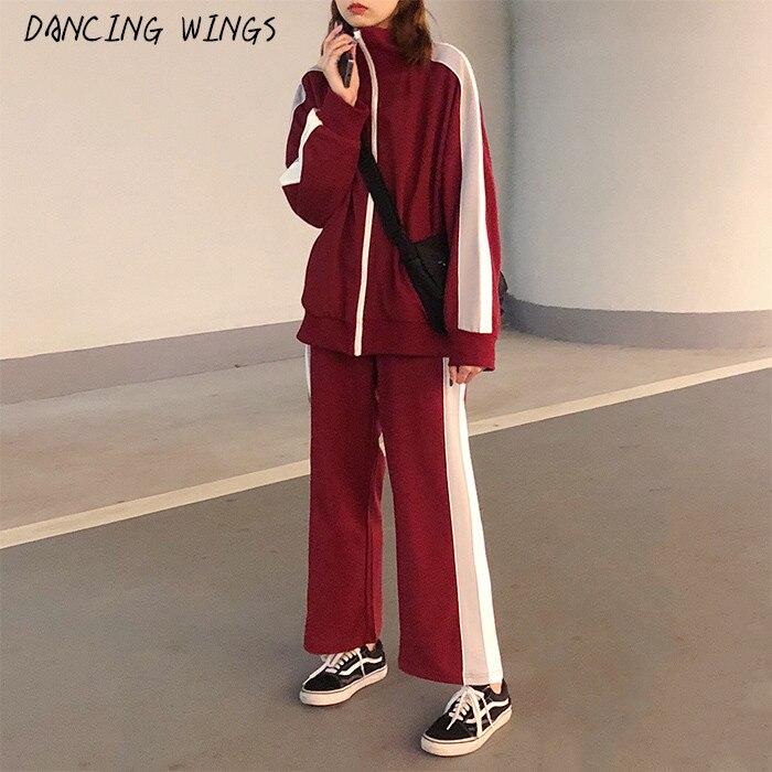 Sport survêtement femmes 2019 nouveauté Colorblock manches longues Sweatershirt veste + pantalons décontractés 2 pièces tenues pour les femmes