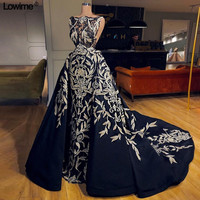 African Mermaid Navey Blue Lace Evening Dresses With Detachable Train Dubai Turkish Arabic Formal Appliques Evening Gowns