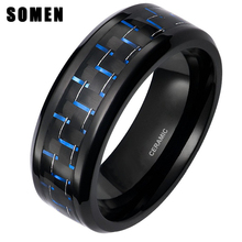 Somen Ring Men 8mm Black Ceramic Ring Blue Carbon Fiber Inlay For Wedding Band Engagement Ring Fashion Jewelry anel masculino