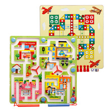 Toy Magnetic Maze Kids Children's Game Educational Brain Puzzle Teaser Cartoon Animal Wooden Toys Jigsaw Board M74 magnetic fishing game wooden toys jigsaw puzzle board education toy kid