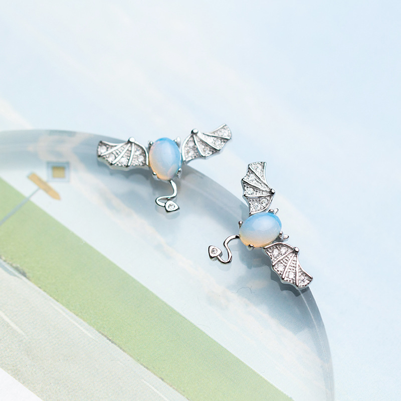 MloveAcc 925 Sterling Silver Bat Ear Stud Earrings Gothic Punk Style Opal Animal Earrings for Women Girl Party Jewelry pair of characteristic punk style silver colored earrings for women