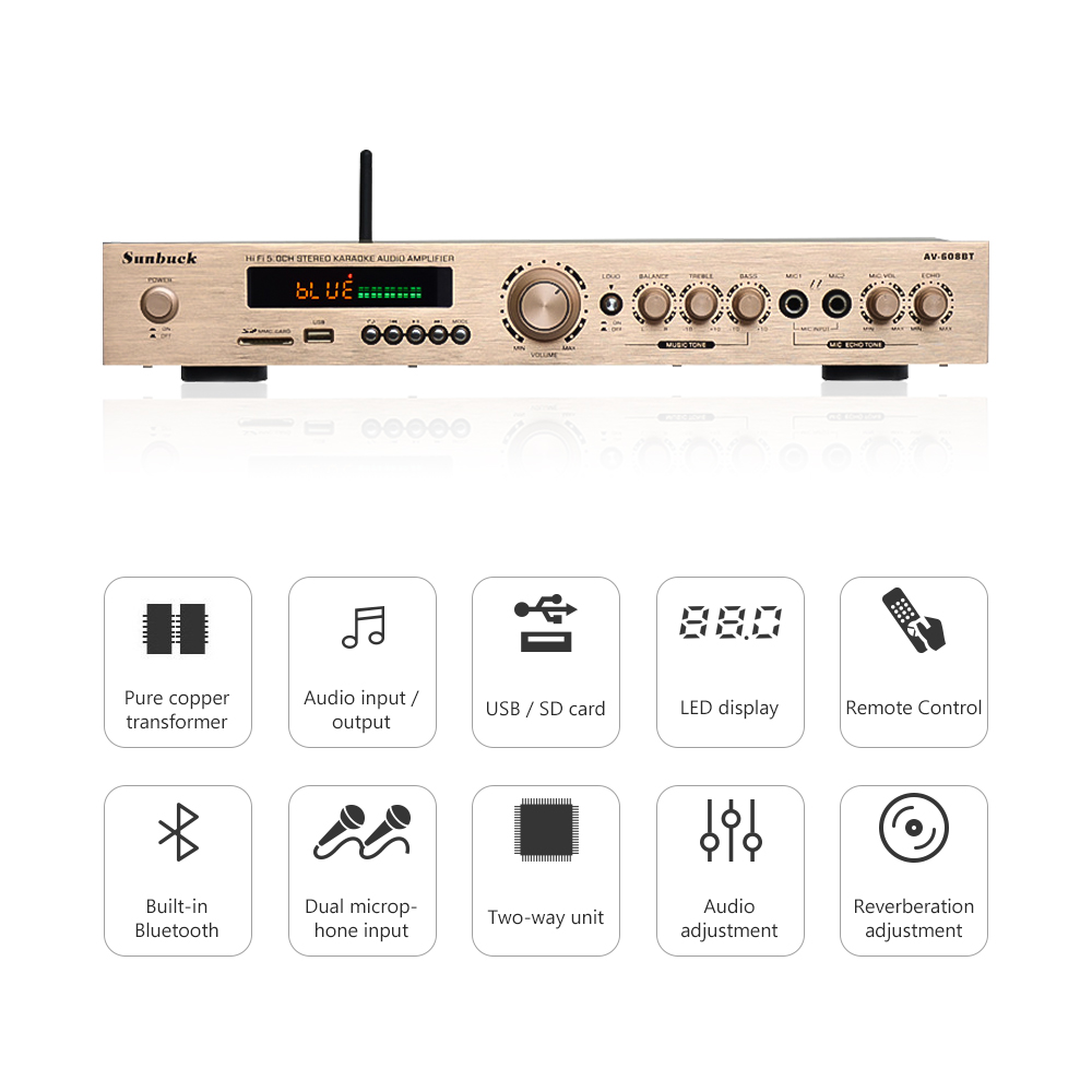 Aiyima Bluetooth Amplifier Hifi 50 Channel Karaoke 120w2 Circuit Diagram And Description Of Amplifierhifi 50w2 25w1 Home Theater Audio With Aux Fm Usb Sd Remote In From Consumer