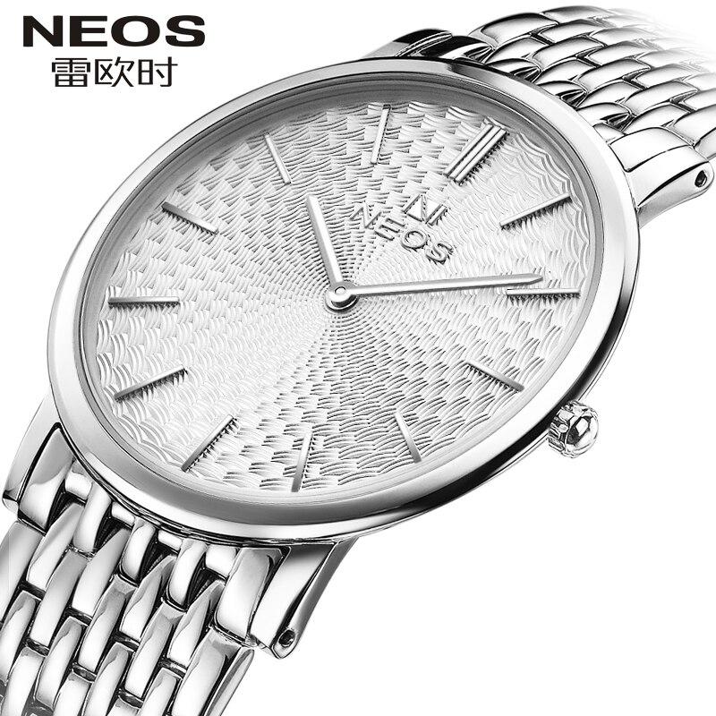 купить NEOS Brand New Men 's Watch Ultra - Thin Simple Fashion Casual Waterproof Women Quartz Steel Belt Watches по цене 5007.95 рублей