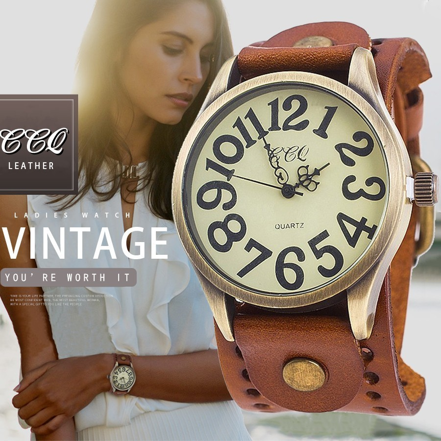 CCQ Brand Vintage Cow Leather Number Dail Watch Casual Women Men Wristwatch Luxury Quartz Watches Relogio Masculino Hot Selling