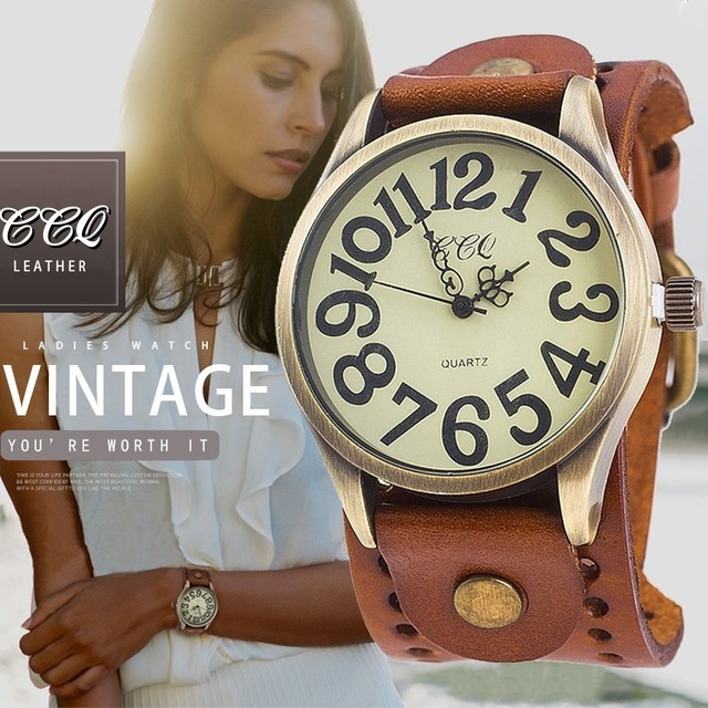 CCQ Brand Vintage Cow Leather Number Dail Watch Casual Women Men Wristwatch Luxu