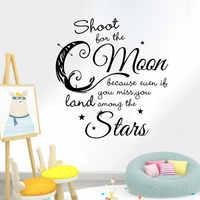 Cartoon Moon Stars Wall Sticker for kids baby rooms home decoration Mural Decals Art English alphabet stickers wallpaper