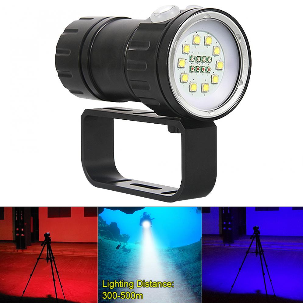 QH18 120W 12000Lumens Ten 5050 White XML2 + Four XPE Red R5 + Four XPE Blue R5 with 7 Modes Diving Flashlight qh14 300w 28800 lumens six 9090 white xml2 four xpe red r5 four xpe blue r5 led diving light with 7 modes flashlight
