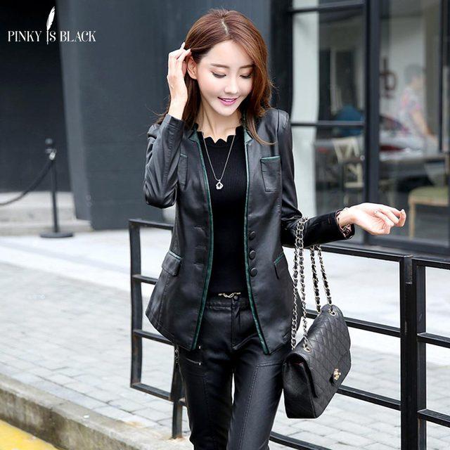 PinkyIsBlack spring and autumn women leather jacket female slim blazer suit leather coat women casual motorcycle jacket female 2