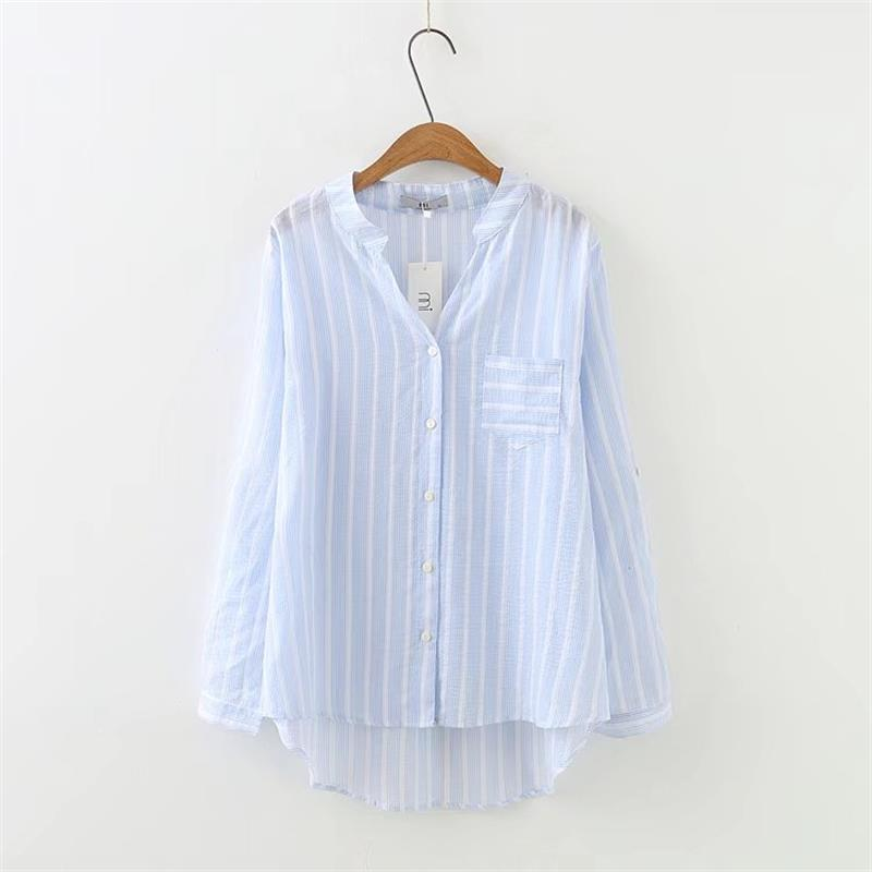 c1663921cd2 Plus size 4XL V-Neck long sleeve blouses women 2018 sky blue and white  striped