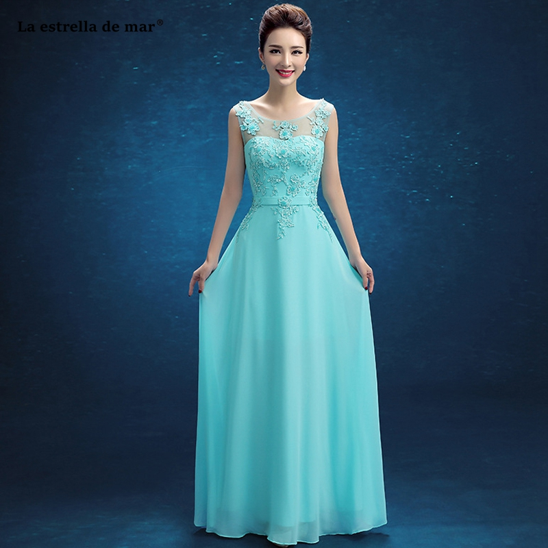 Robe demoiselle d'honneur pour femme2019 new Scoop neck lace chiffon A Line turquoise   bridesmaid     dresses   long wedding guest dres
