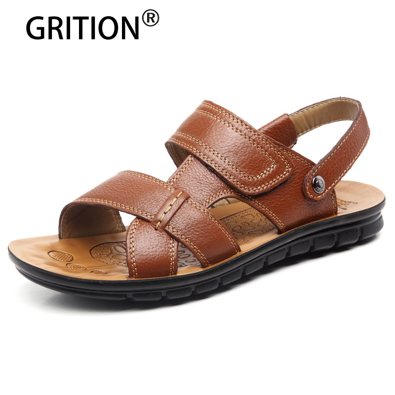 Griton Leisure Men Flat Sandals Solid PU Leather Beach Sandals Slippers for Men