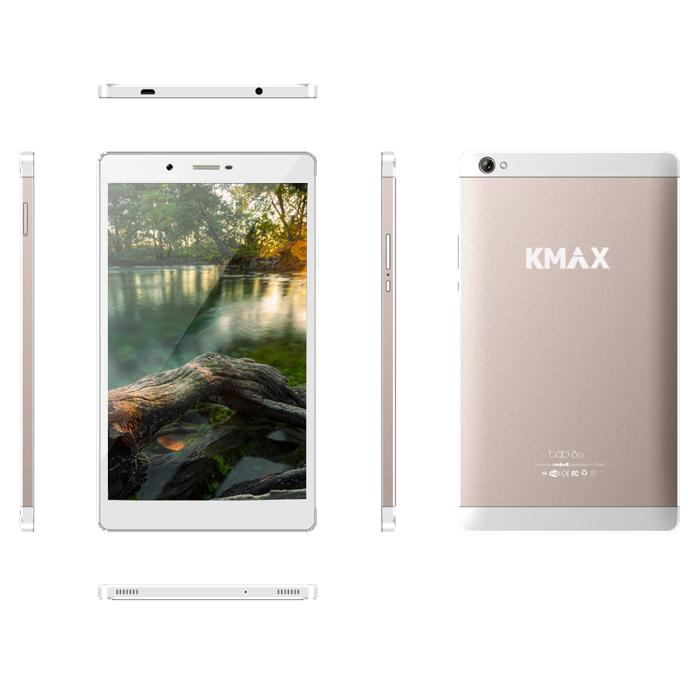 KMAX 3G Phone Tablet PC 8 inch IPS 1280x800 Android system Ouad Core WCDMA Dual Camera 16GB Rose gold back Large capacity batte